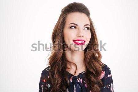 Portret piękna uśmiechnięty młoda kobieta jasne różowe usta Zdjęcia stock © deandrobot