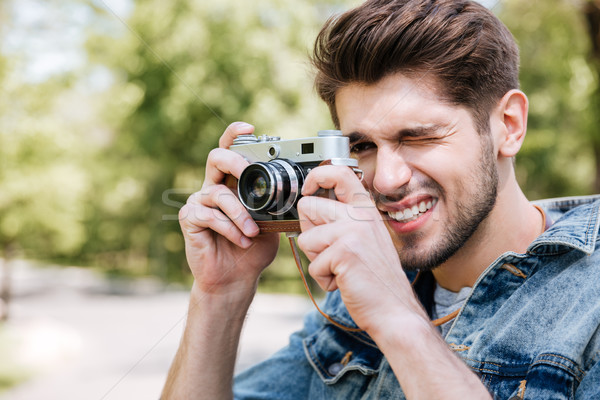 Foto stock: Primer · plano · retrato · casual · hombre · foto