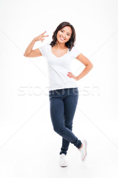 Feliz jóvenes Asia mujer dos Foto stock © deandrobot