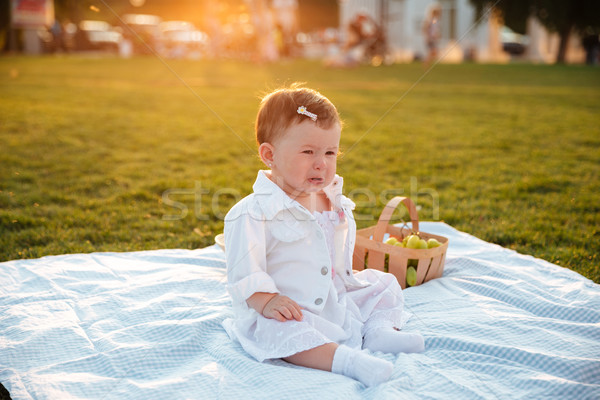 Little baby sitting and crying alone in park Stock photo © deandrobot