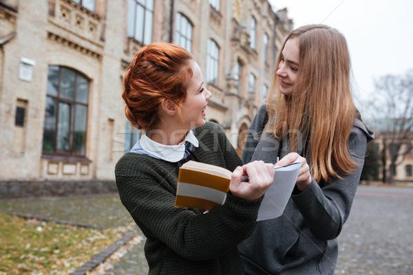 Gelukkig twee meisjes lezing boek samen Stockfoto © deandrobot