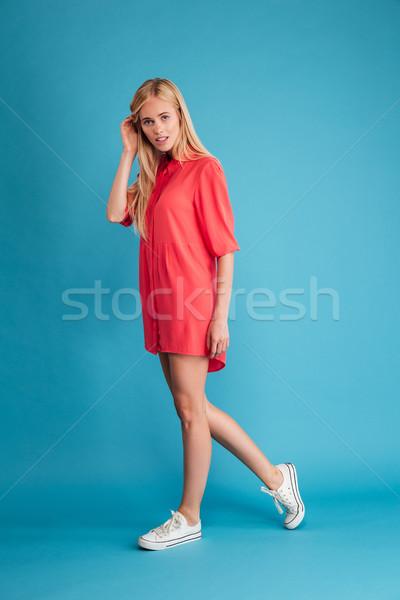 肖像 スタイリッシュ 若い女性 赤いドレス 徒歩 ストックフォト © deandrobot
