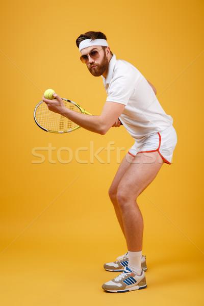 Jóképű fiatal teniszező visel szemüveg kép Stock fotó © deandrobot