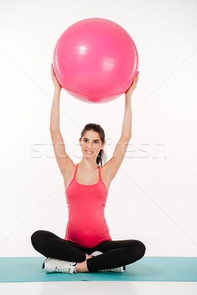 Bella donna incinta sorriso sport fitness salute Foto d'archivio © deandrobot