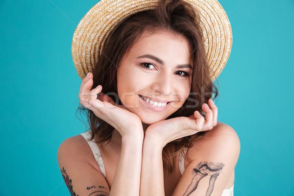 счастливым улыбающаяся женщина соломенной шляпе портрет Сток-фото © deandrobot