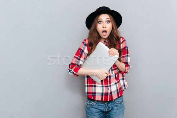 Portrait of a shocked surprised woman in plaid shirt Stock photo © deandrobot