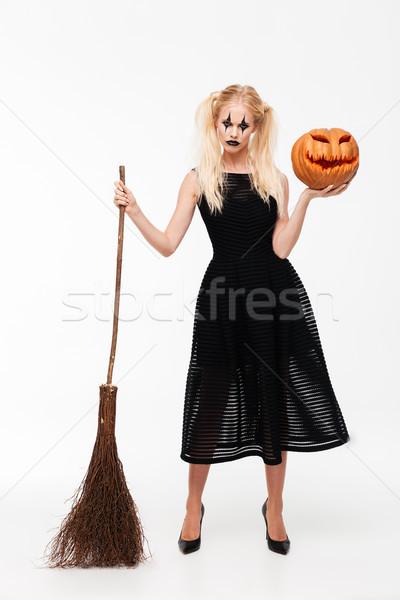 Teljes alakos portré komoly szőke nő boszorkány jelmez Stock fotó © deandrobot
