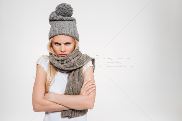 Portrait of an upset unsatisfied woman in winter hat Stock photo © deandrobot
