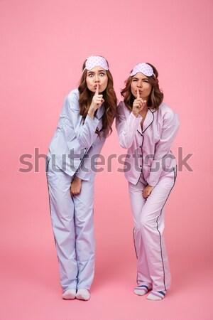 面白い 二人の女性 友達 パジャマ 孤立した ピンク ストックフォト © deandrobot