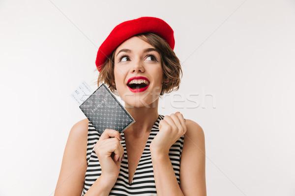 Portret blijde vrouw Rood beret Stockfoto © deandrobot