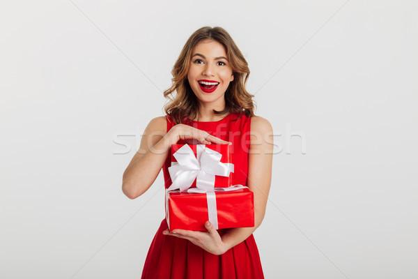 肖像 楽しい 若い女性 赤いドレス スタック ストックフォト © deandrobot
