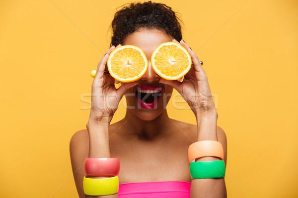 Portre eğlenceli afro amerikan kadın moda Stok fotoğraf © deandrobot