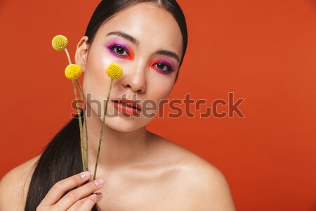 Multicolor image of young mulatto woman with trendy makeup looki Stock photo © deandrobot