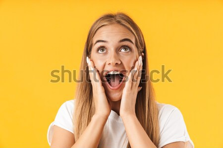 Beauty portrait of an excited brown haired woman Stock photo © deandrobot