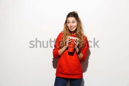 Portre gülen genç kız ayakta silah katlanmış Stok fotoğraf © deandrobot