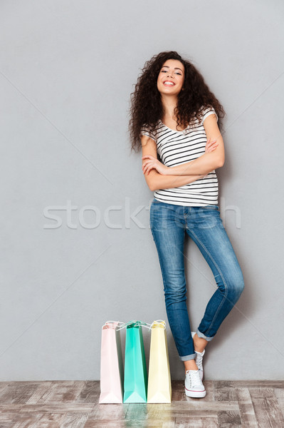 Full size picture of trendy woman resting after shopping and enj Stock photo © deandrobot