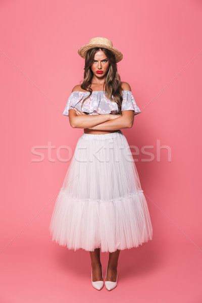 Full length portrait of upset offended woman 20s wearing straw h Stock photo © deandrobot
