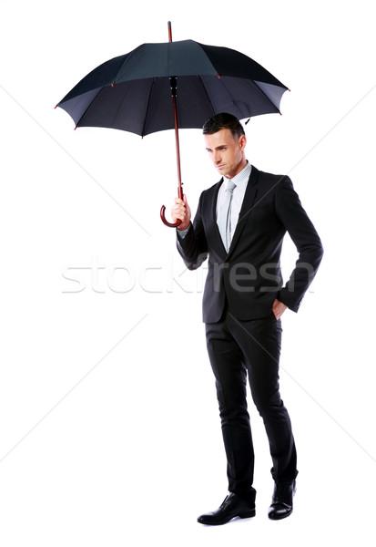Retrato empresario paraguas aislado blanco Foto stock © deandrobot