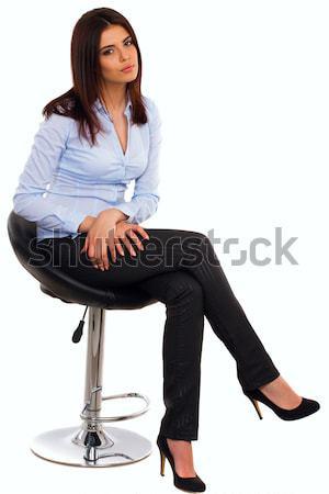 Ritratto felice giovani donna d'affari blu shirt Foto d'archivio © deandrobot