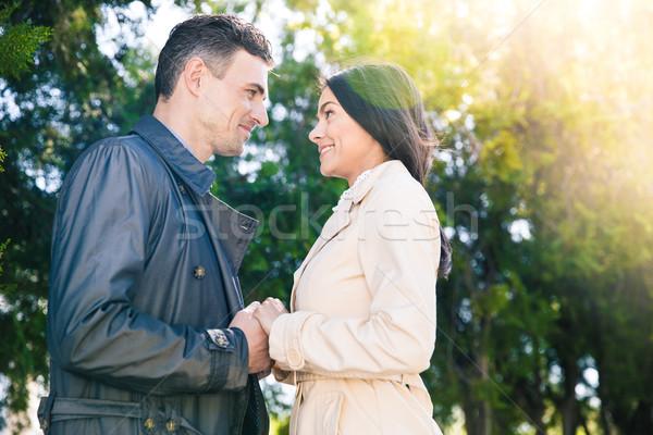 Gülen çift kalma park kız Stok fotoğraf © deandrobot