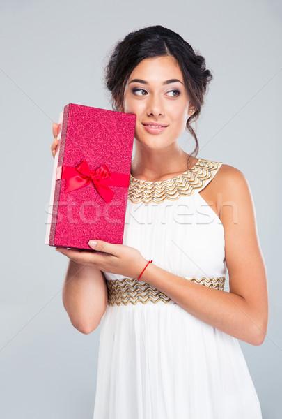 幸せ 女性 白いドレス ギフトボックス ストックフォト © deandrobot