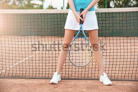Benen tennisracket bal portret vrouwelijke Stockfoto © deandrobot