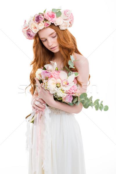 Stockfoto: Mooie · vrouw · jurk · bloemen