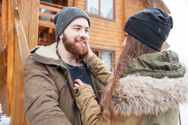 Casal em pé casa de campo tempo Foto stock © deandrobot