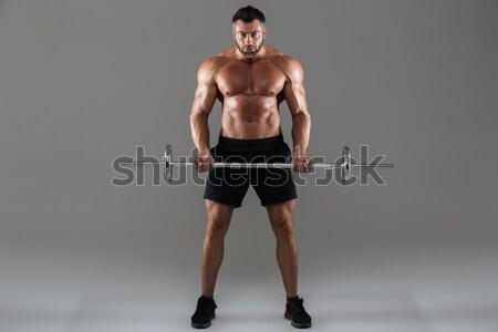 Portret mooie fitness vrouw barbell sterke Stockfoto © deandrobot