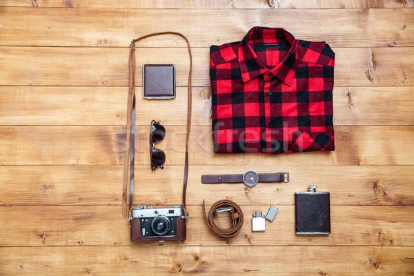 Utazás póló kamera flaska óra pénztárca Stock fotó © deandrobot