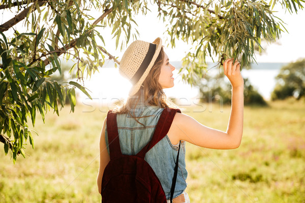 Back view of a beautiful girl traveling in the forest Stock photo © deandrobot