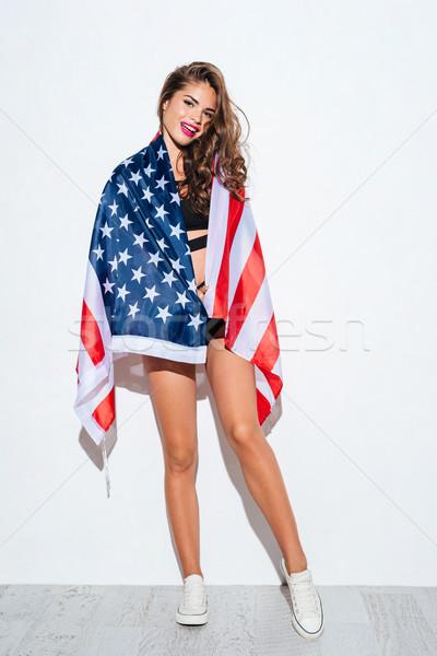 Gelukkig jong meisje USA bikini vlag Stockfoto © deandrobot