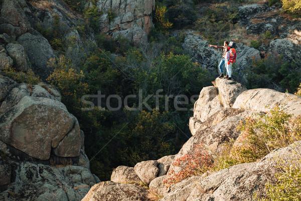 Przygoda para kanion dziewczyna sportu Zdjęcia stock © deandrobot