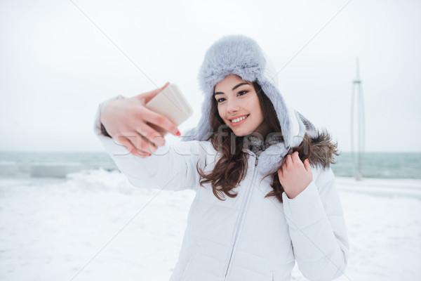 Stockfoto: Vrouw · hoed · telefoon · afbeelding