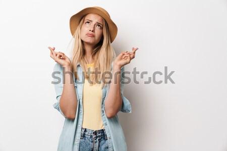 Stock fotó: Portré · meglepődött · fiatal · lány · néz · kamera · izolált