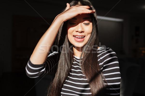 Boldog ázsiai nő nyitva száj büfé Stock fotó © deandrobot