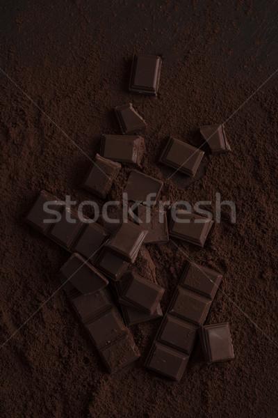 Stockfoto: Pure · chocola · tegel · stukken · gedekt · chocolade · poeder