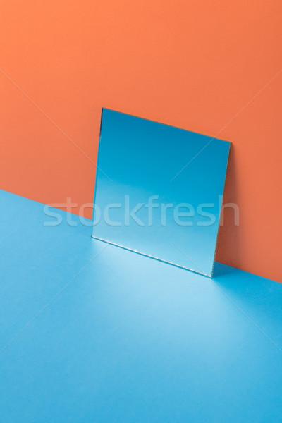 Spiegel Blauw tabel geïsoleerd oranje afbeelding Stockfoto © deandrobot