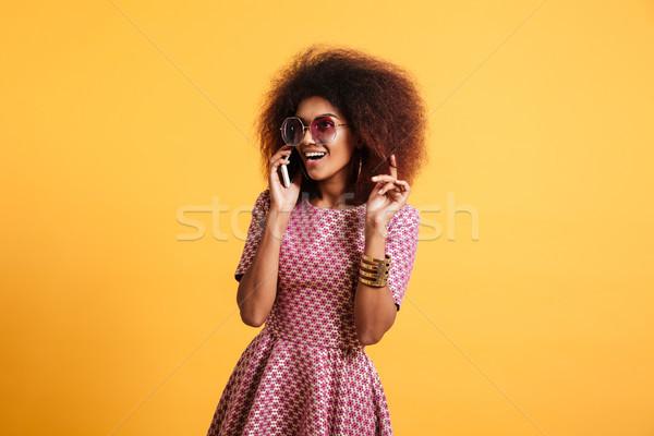 Portré mosolyog afro amerikai nő retró stílus Stock fotó © deandrobot
