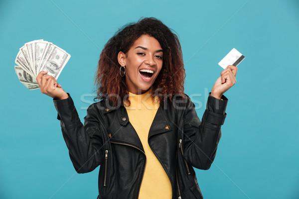 Heureux africaine femme argent Photo stock © deandrobot