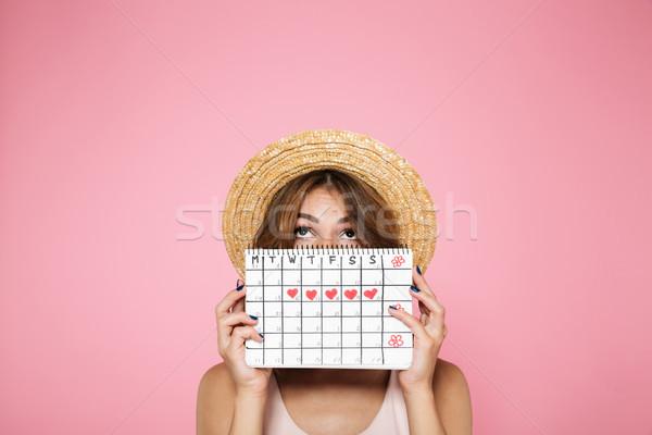 Portre genç kız yaz şapka gizleme arkasında Stok fotoğraf © deandrobot
