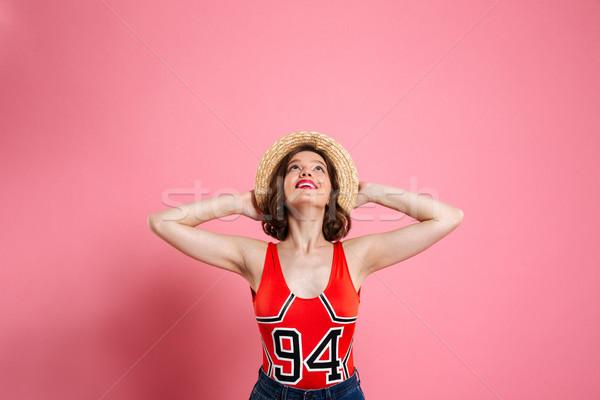 портрет девушки купальник соломенной шляпе Сток-фото © deandrobot