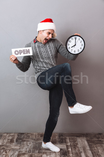 Full-length image of happy man in sweater and christmas hat Stock photo © deandrobot