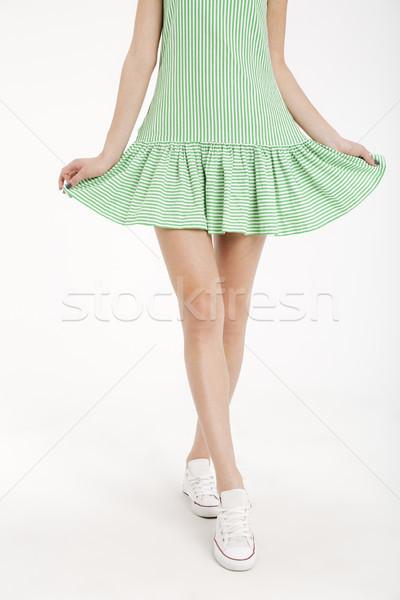 Mitad cuerpo retrato joven vestido caminando Foto stock © deandrobot