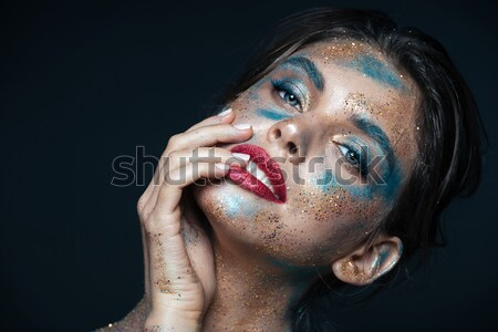 水平な 写真 スタイリッシュ 女性 カラフル 化粧 ストックフォト © deandrobot