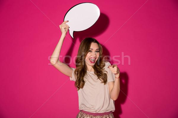 Feliz bastante mulher jovem balão de fala foto Foto stock © deandrobot