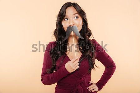 Portré elegáns ázsiai női csinos gesztenyebarna Stock fotó © deandrobot