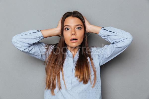 путать удивленный брюнетка женщину рубашку ушки Сток-фото © deandrobot