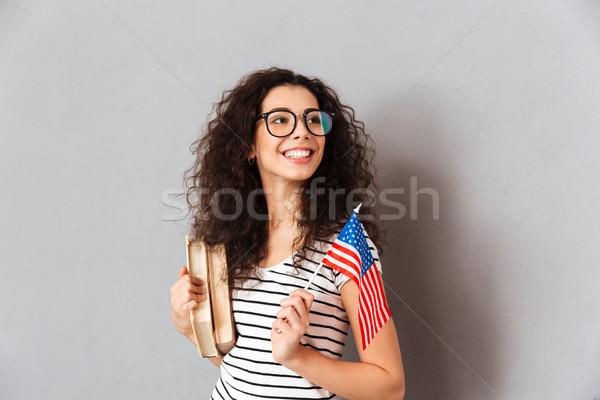 портрет Привлекательная женщина студент очки удовлетворенный Сток-фото © deandrobot