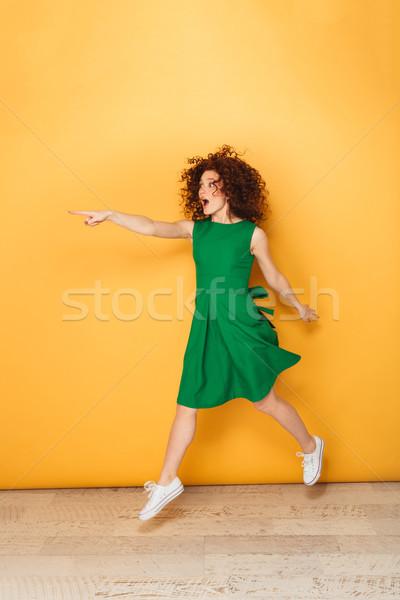 Foto stock: Retrato · feliz · mulher · vestir